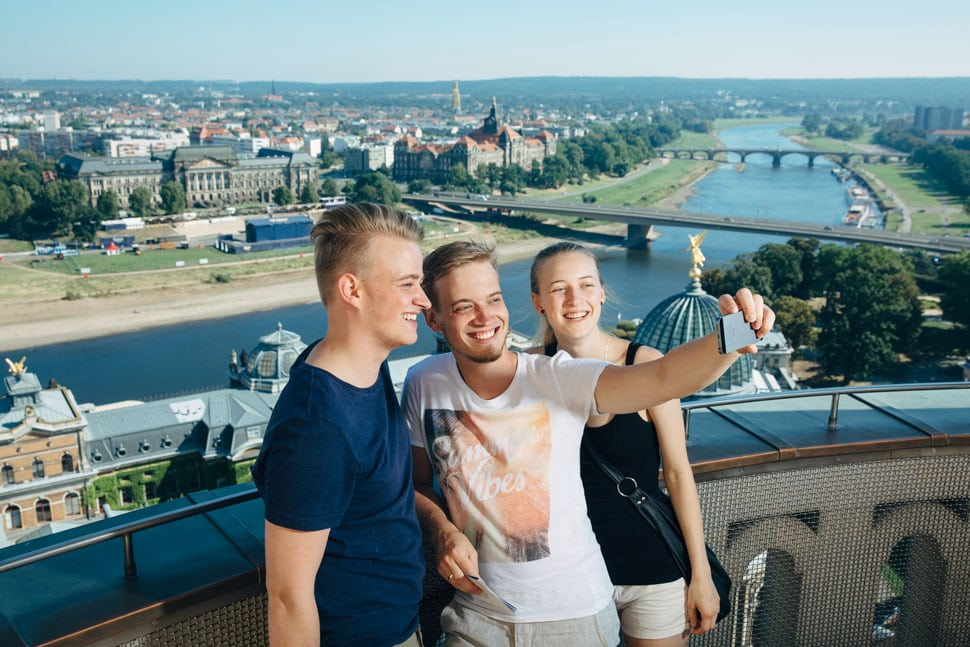 Friends taking a selfie on the dome of the Frauenkirche