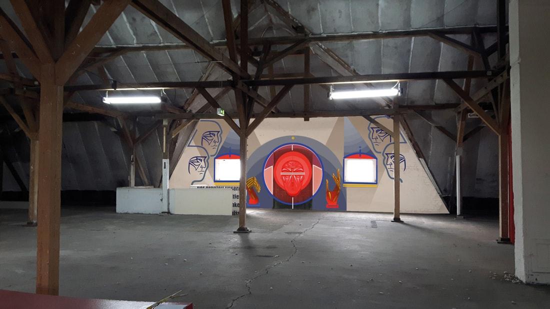 Radkevych, Sergii *1987: Ukraine, One Space, Wandmalerei, 2017, Sprühdose, Acryl, Tempera, 120 x 60 cm.